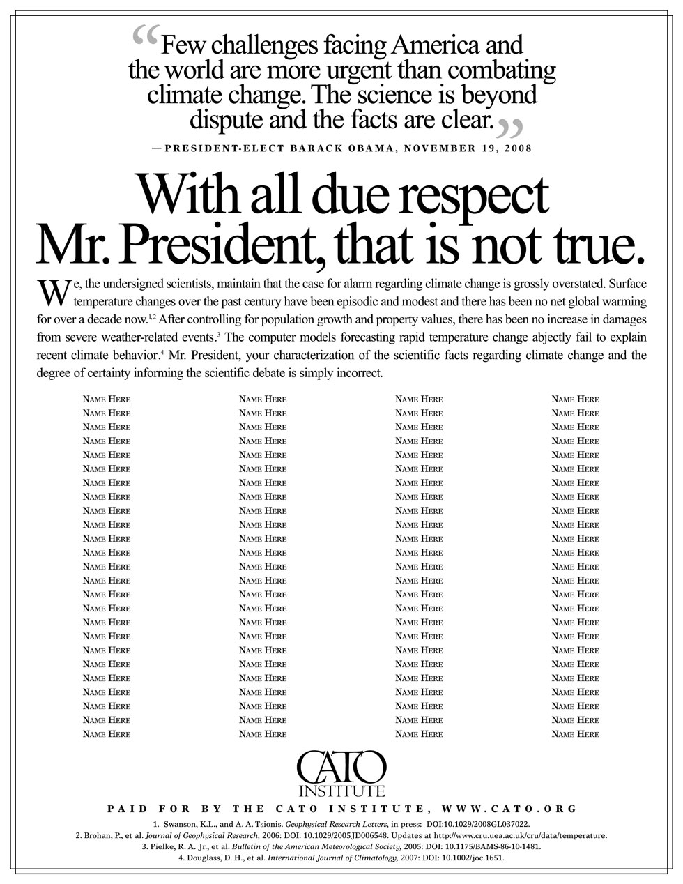 CATO Institute: With All Due Respect