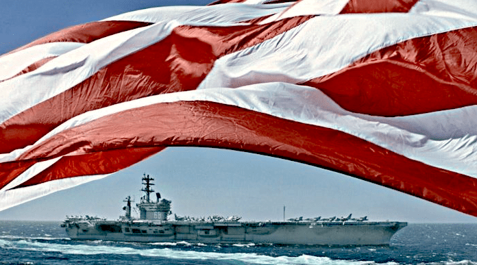 Flag over US Aircraft Carrier