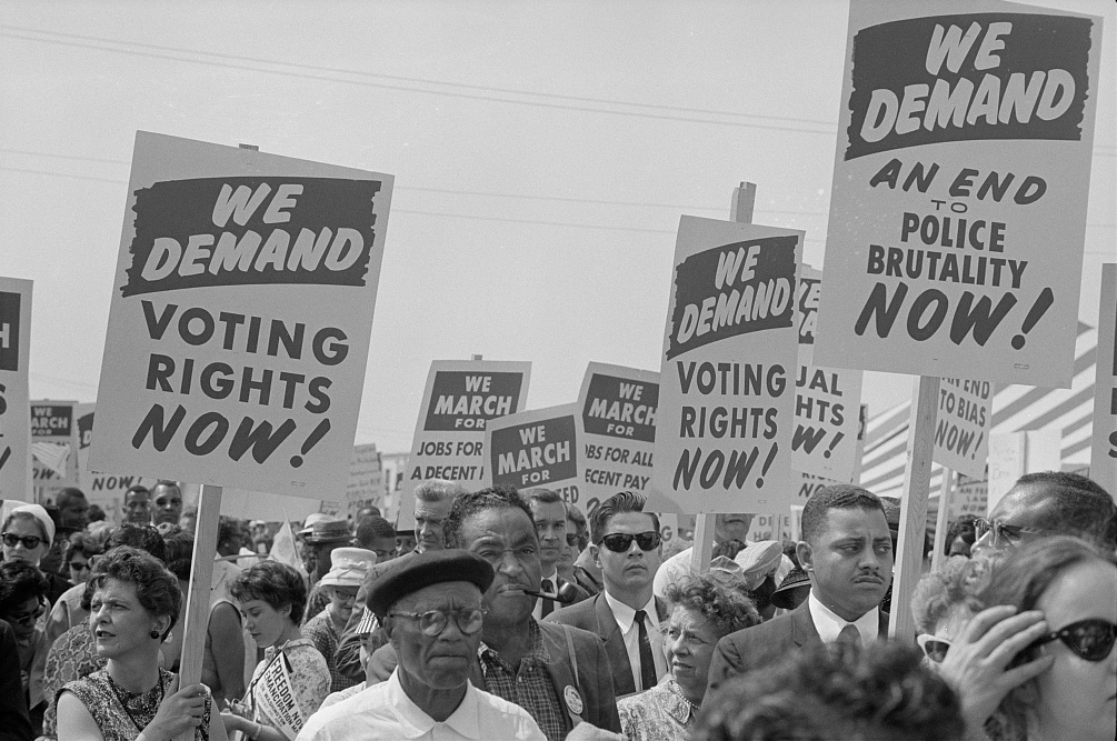 Voting Rights Marchers with signs at the March on Washington 1963.
